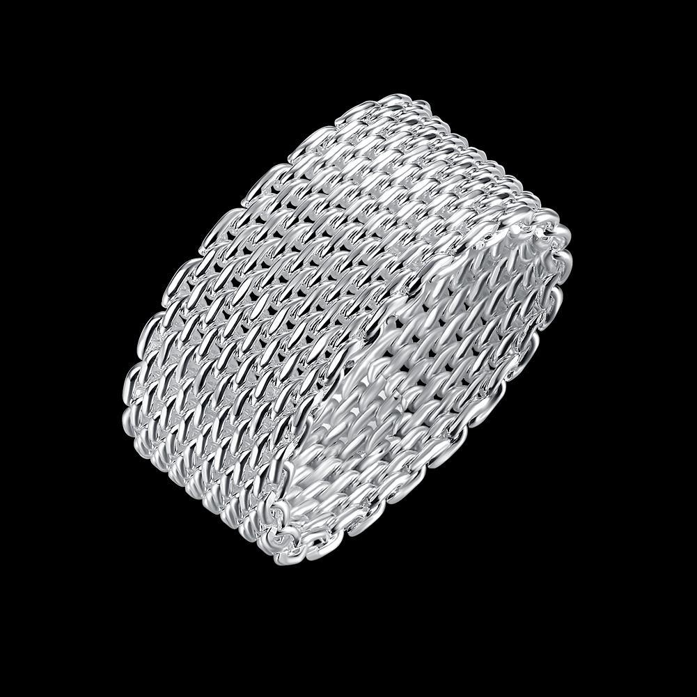 Anéis líquidos 925 banhado a prata redonda trançada S925 Plano banda anel na moda moda generoso partido Projetado Dança presentes elegante POTALA040
