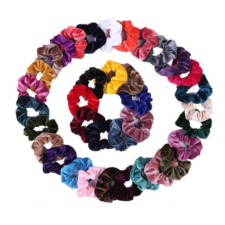25 colores de moda de Corea del estilo de los bebés de la mejor venta Scrunchies Fiesta Eficiencia niños Cola de caballo Diadema de terciopelo elástico Hairband