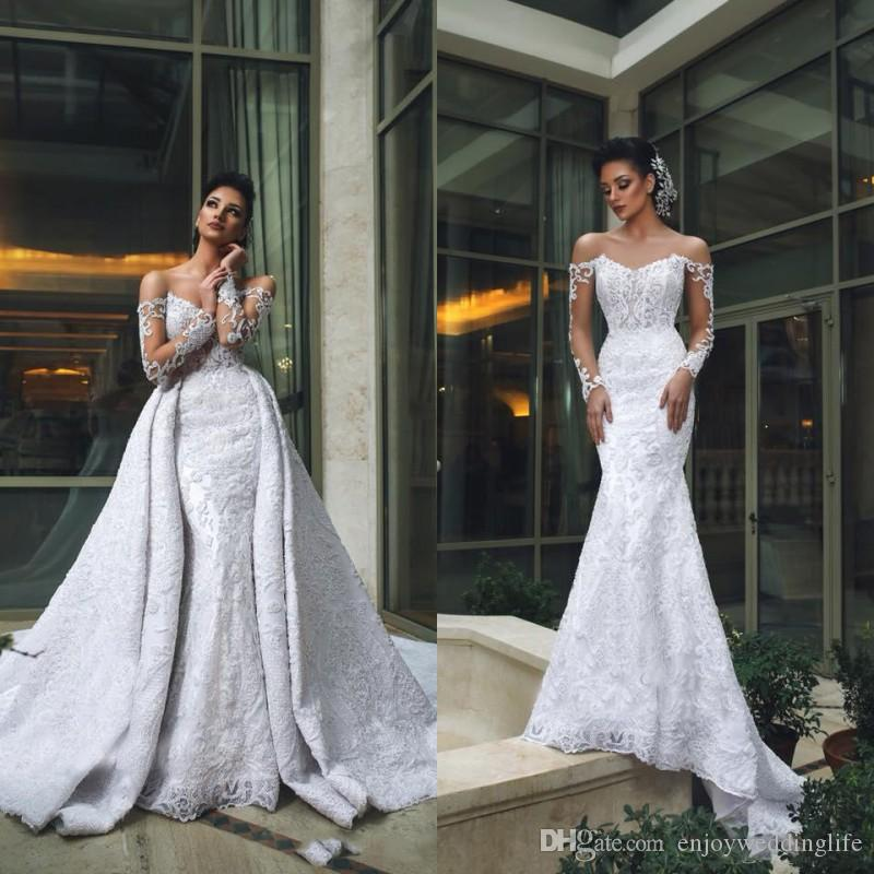 Sexy Off Shoulder Long Sleeves Lace Mermaid Wedding Dresses With Detachable Train Luxury Applique Beaded Dubai Arabic Bridal Gowns