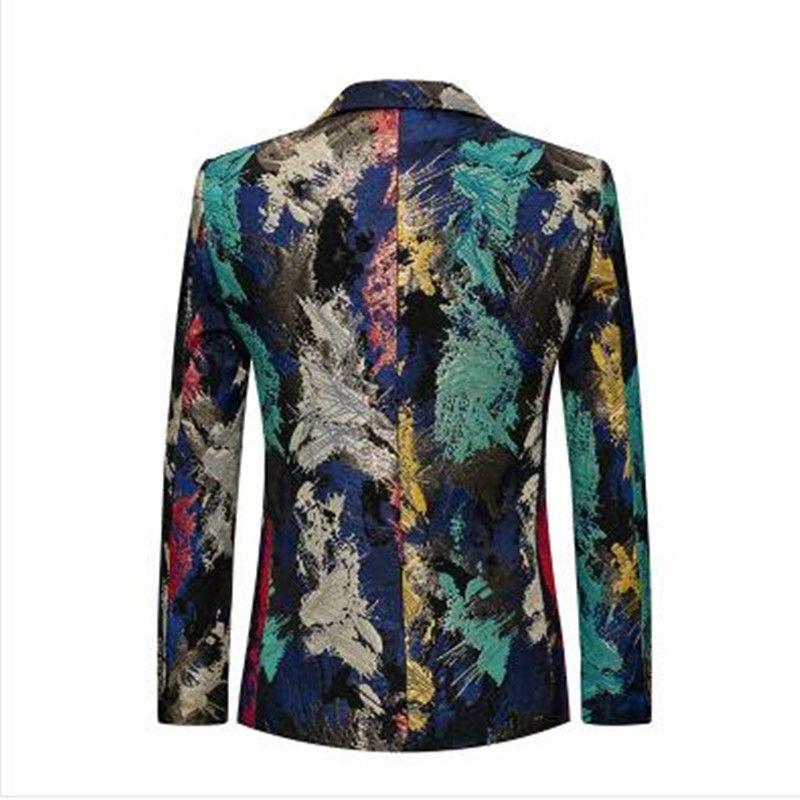 Erkek Çiçek Baskılı Blazers Yeni Sonbahar Kış Slim Fit Rahat Moda Blazer Elbise Renkli Sahne Giyim Balo Blazers