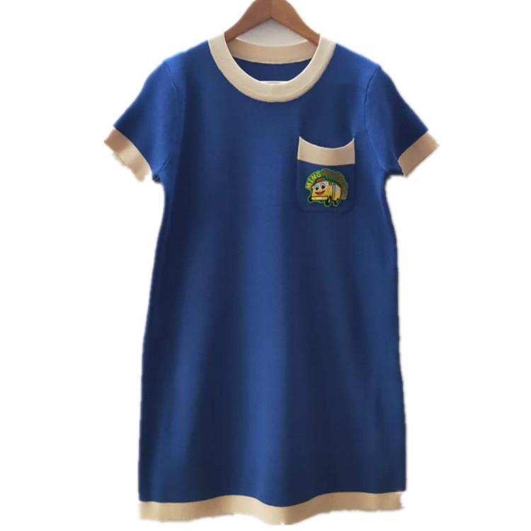 Freies Verschiffen 2020 Sommer-Blau / Rot / Schwarz-Abzeichen Druck-Sommer-Frauen-T-Shirt Marke Same-Art-Frauen-T-Shirt 031122