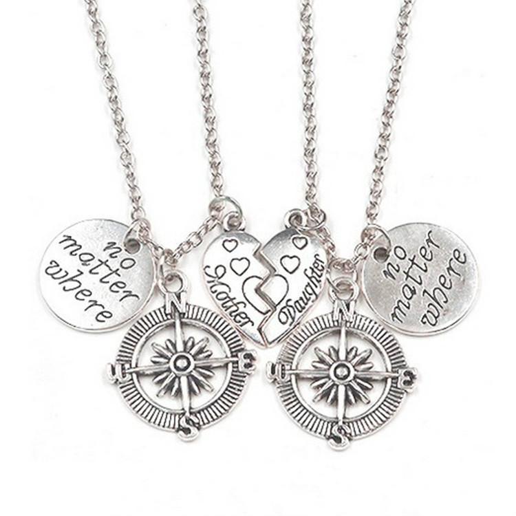 a forma di cuore-antica d'argento non importa dove Alphabet Tag Compass cucitura gioielli della figlia della madre della collana di fascino del regalo creativo festa della mamma