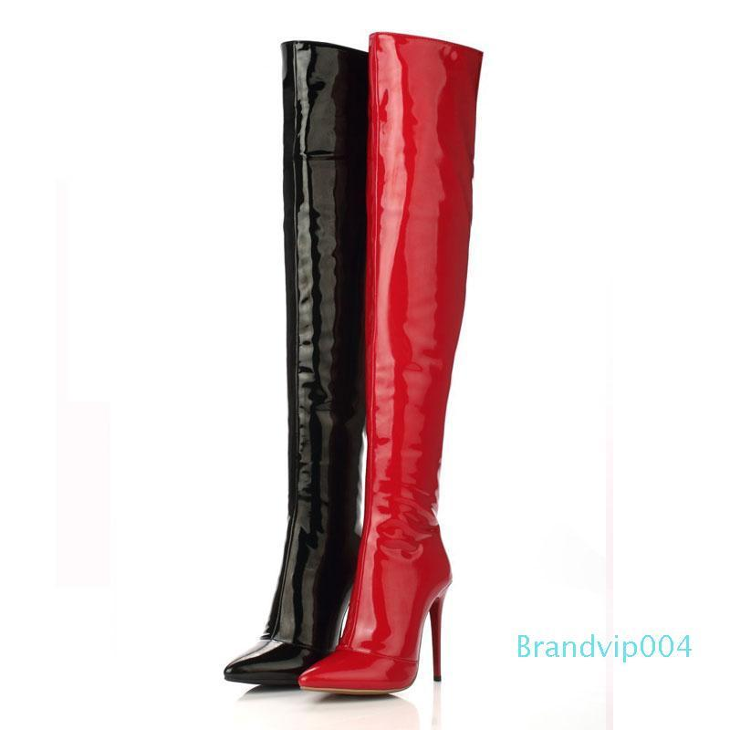 Designer-Women High Heels Tall Boots Sexy Patent Leather High Heel Over The Knee Boots For Women Ladies Pole Dancing Boots Size 35-43