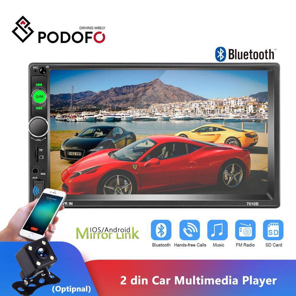 Autoradio 2DIN Podofo 2DIN 자동차 라디오 7 인치 터치 스크린 라디오 Autoradio 자동차 MP5 플레이어 디지털 디스플레이 블루투스 멀티미디어 USB