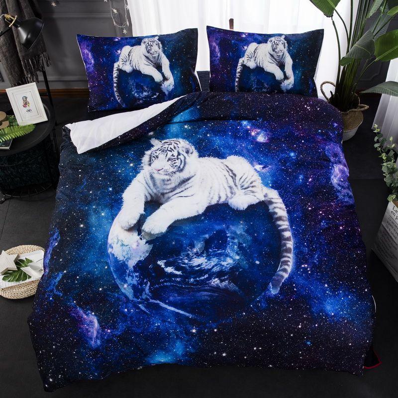 Lindo conjunto de cama de solteiro duplo king size 2 / 3pcs roupas de cama com alta qualidade estrela em branco tigre conjunto de capa de edredão