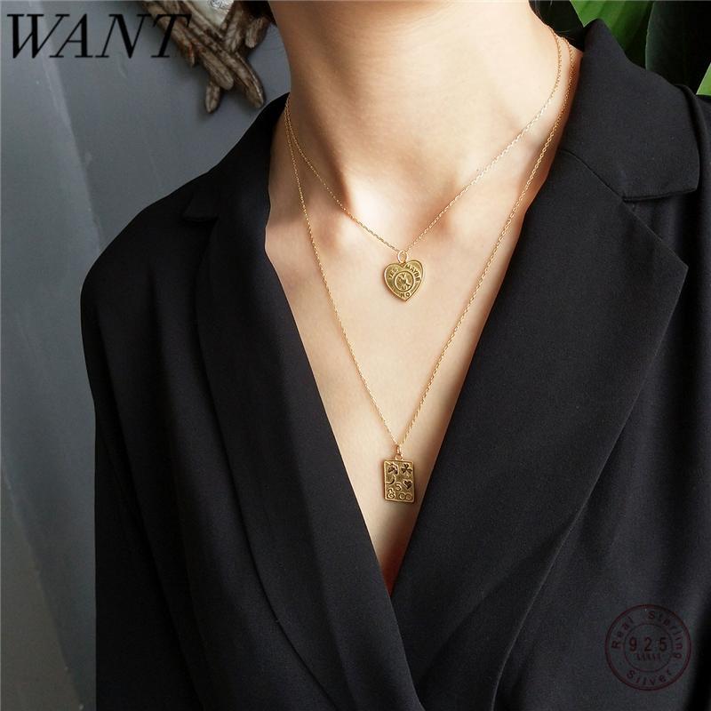 WANTME réel 925 géométrique en argent sterling amour Croix numérique Choker Pendentif chaîne courte collier pour femmes Mode Fine Jewelry