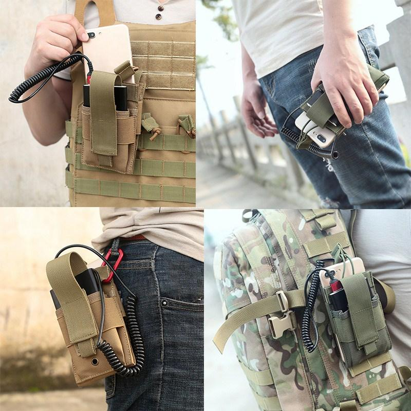 Outdoor Double-layer Mobile Phone Bag Tactical Phone Pouch Army Waist Pouch Intercom Bag Camping Hiking Molle