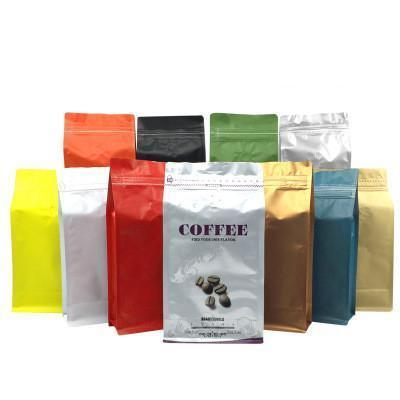 Multi color Aluminum Foil Coffee Bean Packing Pouch Coffee Packaging Bag with Valve One pound Side Gusset zipper bag