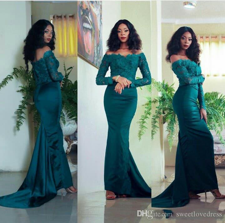 Elegant Dark Hunter Mermaid Lace Long Sleeves Evening Formal Dresses 2019 African Party Prom Dresses Custom MAde