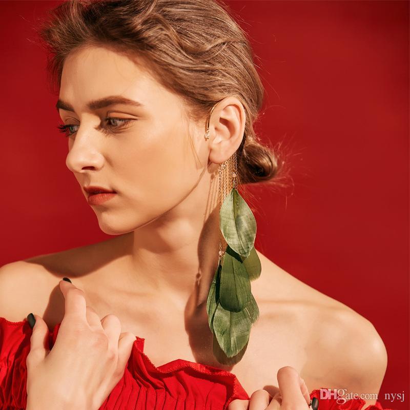 Темперамент супер фея перо earhook чешский длинные кисточкой серьги женский пирсинг серьги чистый красный праздник ювелирные изделия