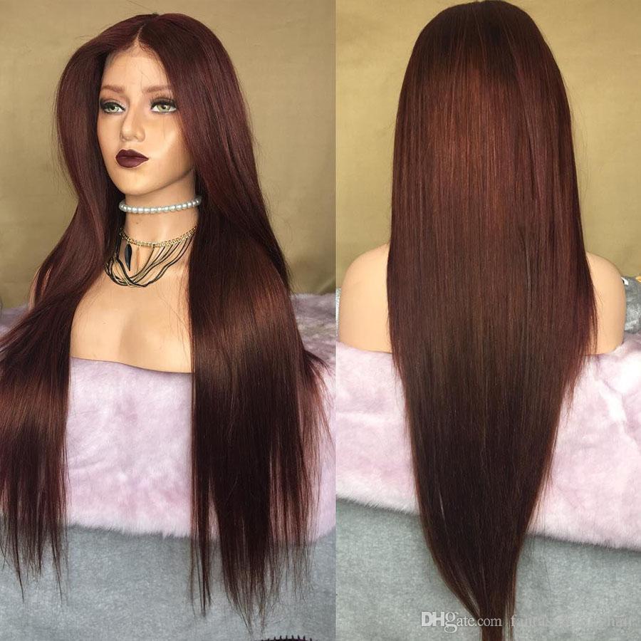 Perulu Koyu Kırmızımsı Kahverengi 360 Dantel Frontal İnsan Saç Peruk Ile Bebek Saçları Ile İpeksi Düz Tutkalsız Tam Danteller Peruk Kadınlar Için 13x6 Ön