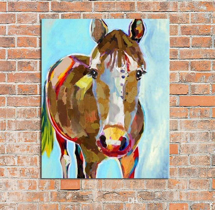 vA. High Quality Handpainted Modern Abstract Animal Art Decorative Horse Oil Painting On Canvas Wall Art Home Office cafe bar Deco a49