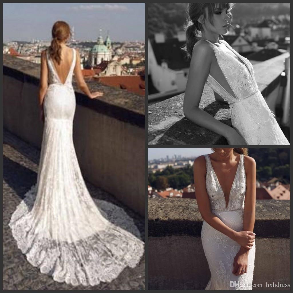 2019 Nova Moda Lace Frisada Sereia Vestidos de Casamento Profundo Decote Em V Trompete Backless Vestido De Noiva Plus Size 3D Appliqued Vestidos De Casamento