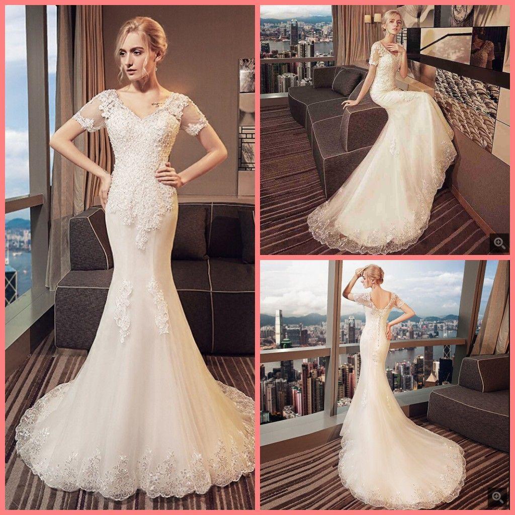 Vestiti Da Sposa Di Pizzo.Acquista Robe De Mariage Sirena Di Pizzo Bianco Appliques Elegante