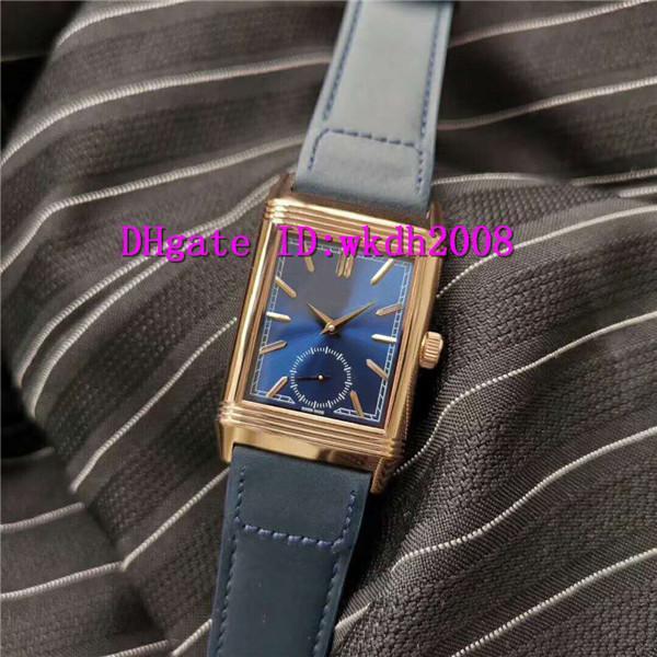 Top Reverso Tribute Duoface 398258J Мужские часы Swiss 854а / 2 автоматические механические 28800 полуколебаний 18k розовое золото Casual Часы Сапфир Водонепроницаемый