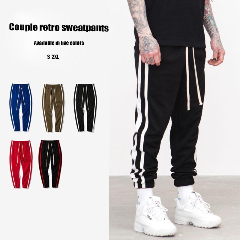 Domple Mens Sports Contrast Color Drawstring Casual Elastic Waist Long Pants