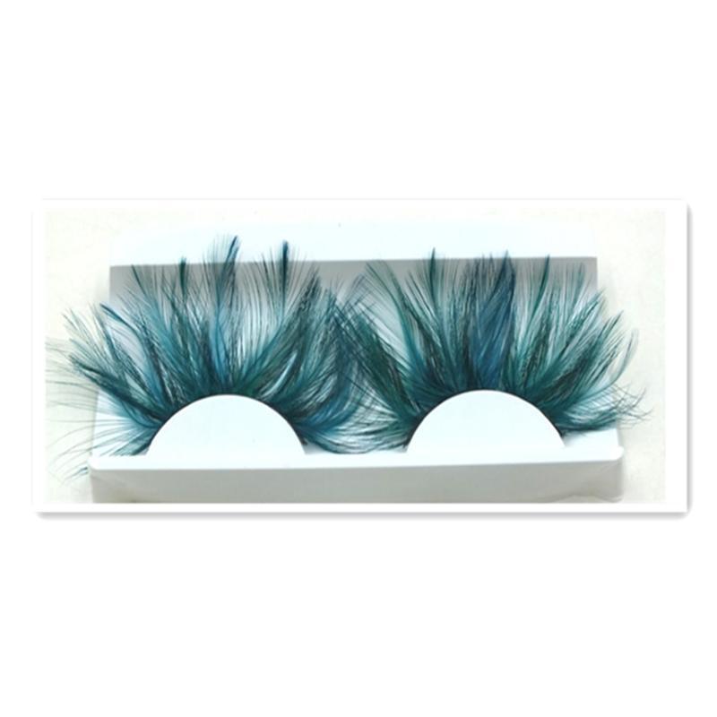 1 Pairs Dark Green Feather 3D Thick Winged Natural Long False Eyelashes Exaggeration Stage False Eye Lashes Makeup Tool