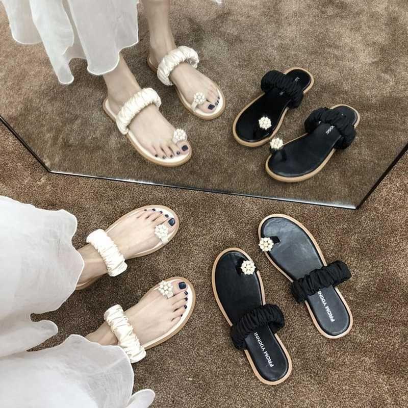 Pérola sandálias flor clipe toe mulheres brilho cristal flops do verão sandanlias gladiador banda de seda talão sapatos de praia de estilo de fadas
