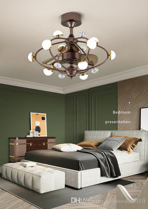 Luces de ventilador invisibles nórdicas candelabro de conversión de frecuencia con Control remoto para el hogar dormitorio restaurante 220 V creativo Simple LLFA