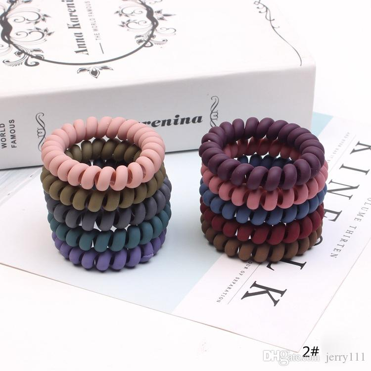 Girls Frosted Coil Hair Ties Large Hairbands Elastic Hair Rope Rubber Ring Ponytail Holder For Women Thick Hair Accessories Wholesale JFJ817