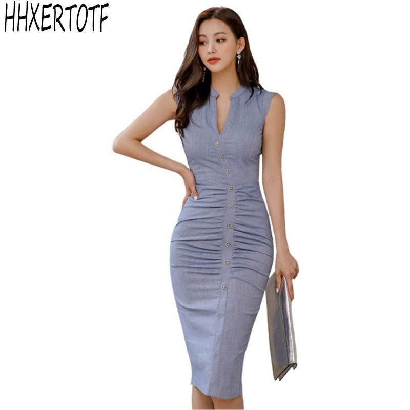 Sommer-elegante Frauen Casual Wear zu Arbeit Vestidos Office Business Partei Bodycon Bleistift Etuikleid