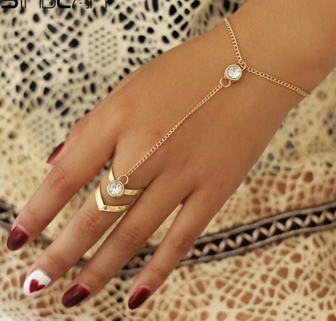 Pulsera del anillo grande cristalino del oro para las mujeres joyería de la cadena de pulsera de mano de la manera de los brazaletes de cadena trasero femenino brazo articulado Adornos