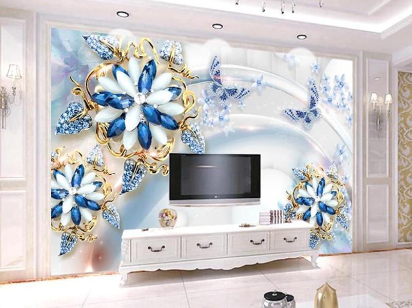 flores europeas nobles y magníficos 3D de lujo del papel pintado murales de fotos Sala de TV Sofa Hotel fondo de la pared de papel Decoración para el Hogar