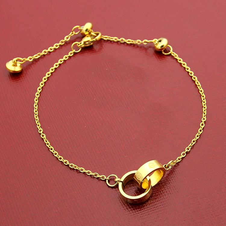 2019 Luxury Fashion Brand hand rope bracelets small double ring Titanium steel 18k rose gold women love couple bracelet