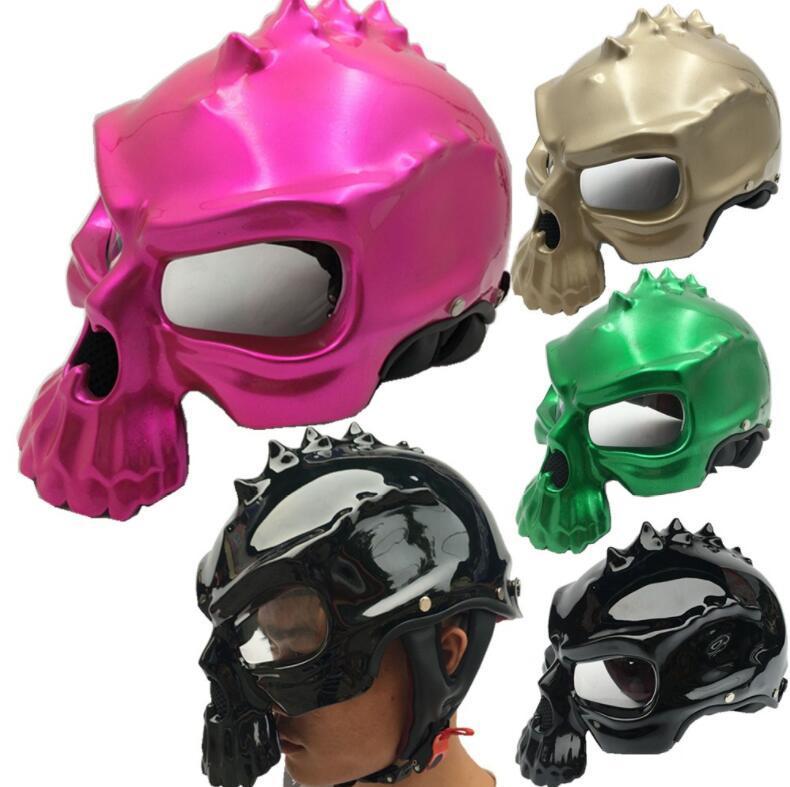 هارلي خوذة الرجعية الرجال والنساء شخصية الجمجمة شبح مواجهة خوذة دراجة نارية ركوب دراجة نارية سباقات خوذة قبعة الثابت