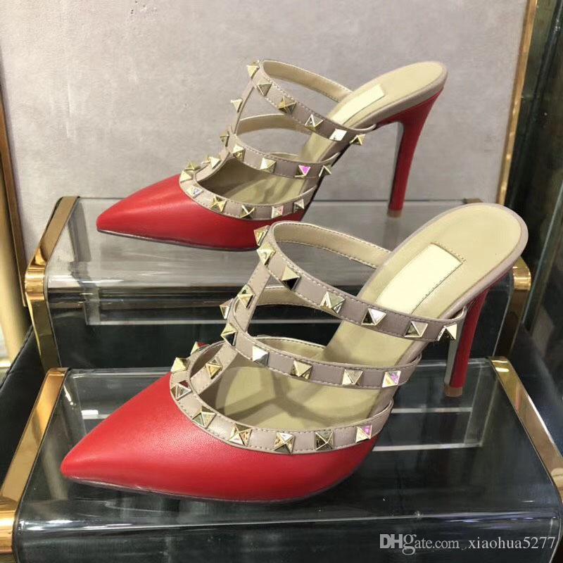 뜨거운! 큰 사이즈 여성 하이힐 샌들 웨딩 신발 가죽 리벳 샌들 여성 박힌 끈으로 드레스 신발 v 하이힐 신발 뒤꿈치 9.5 센치 메터