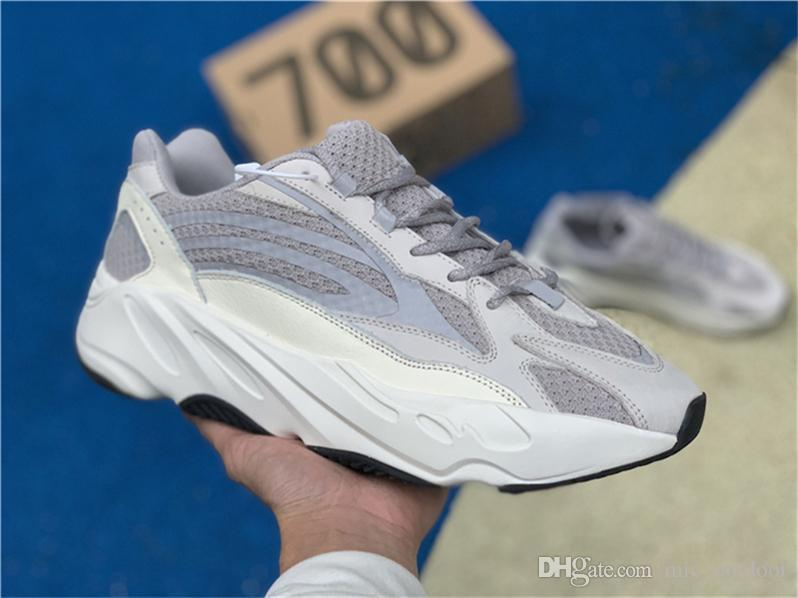 online store da89b a9394 2019 2018 Authentic Wave Runner 700 V2 Static Kanye West 700V2 3M White  Sports Snakers Running Shoes Come With Original Box EF2829 Fashion From ...