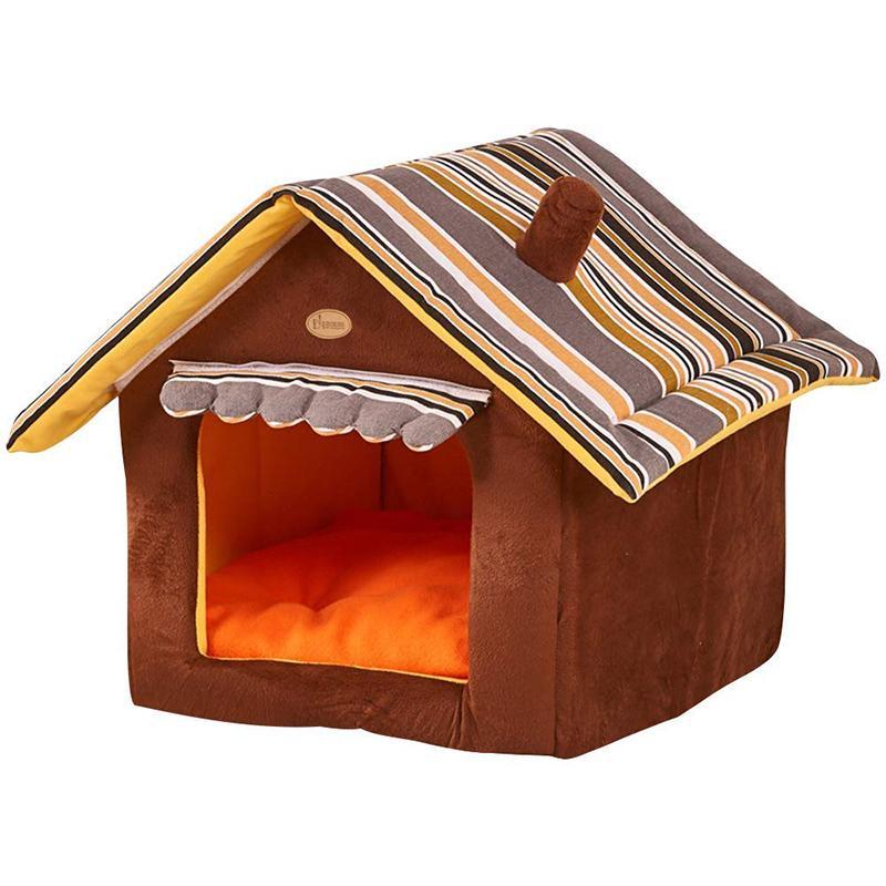 Съемного Дизайн Pet Dog House Cat House Dog Bed Антипробуксовочного Складный со съемным Pad Устойчив Базовым Мягким теплым Pet