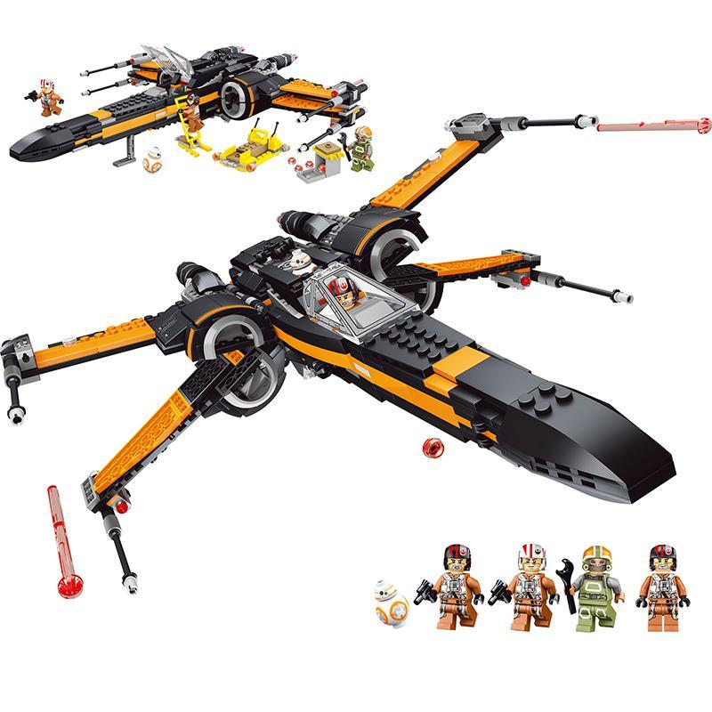 735PCS الصغيرة بناء كتل اللعب متوافقة Legoe نجوم الحروب بو X-الجناح المقاتل هدية للأولاد البنات الأطفال DIY