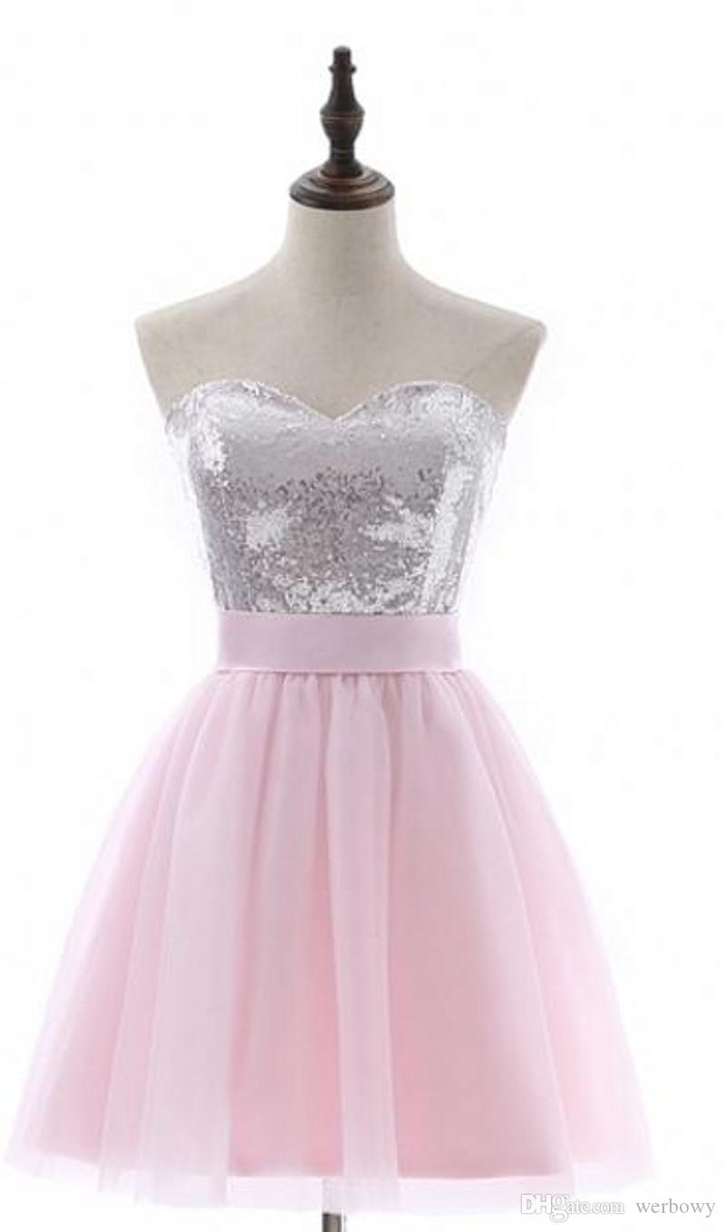 Großhandel Moderner Pink Party Kleider A Linie Kurz Hülse Minitulle  Pailletten Elegante Backless Bogen Cocktailkleider Plus Size Abendkleider  HY16