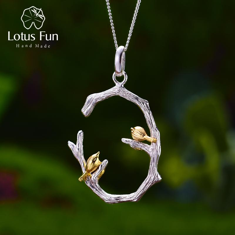 Lotus Fun Real 925 Sterling Silver Natural Original Handmade Fine Jewelry Bird On Branch Pendant Without Necklace For Women J190611