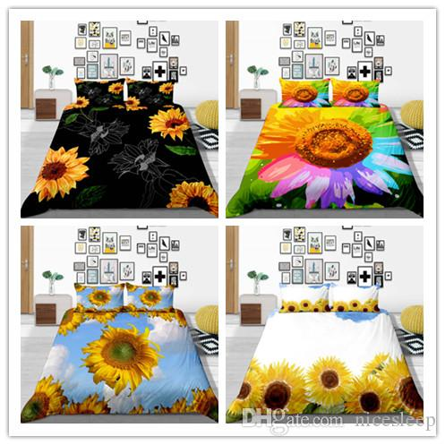 2019 New Products Sunflower Printing Bedding Sets Teen Child Girl Full Queen King Double Home Textile Bedsheet Pillowcase Quilt Cover