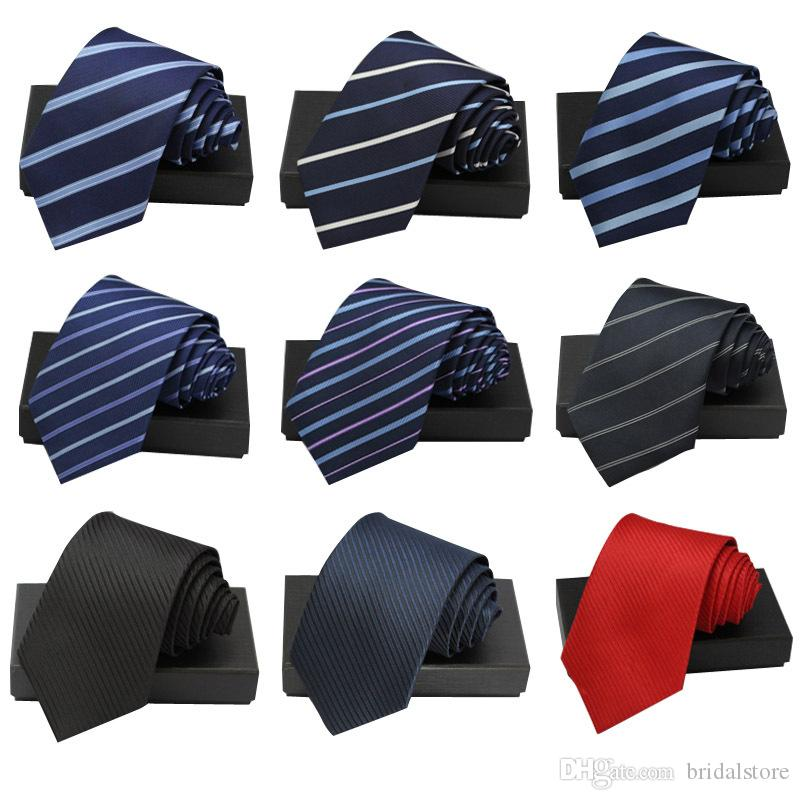High Quality Blue Red Solid Groom Ties Modern Stripe Neck Ties For Wedding Business Cheap Fashion Tuxedo Men's Accessories