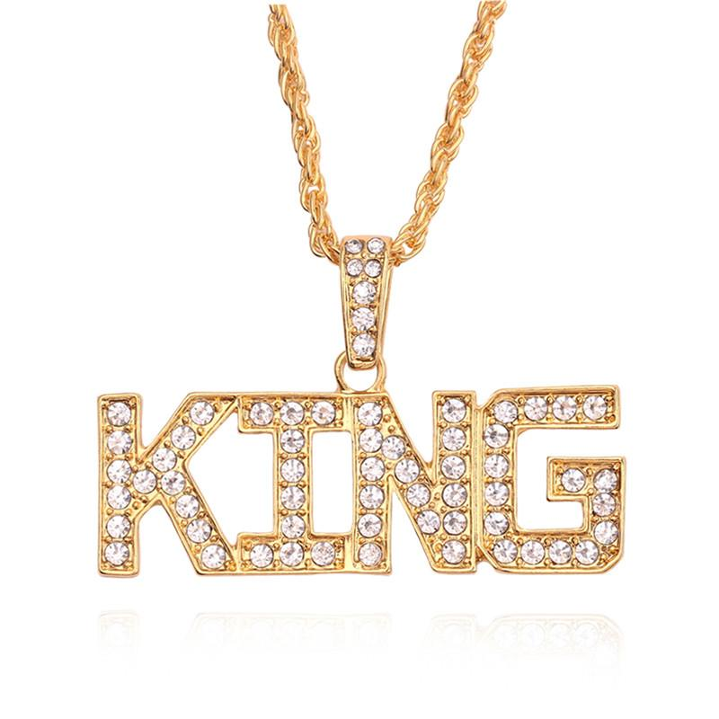 wholesale Hop Gold Letter Queen King Necklace Gold Chain Inlaid CZ Pendant For Couple Women Men Valentine's Day Gift Collar Jewelry