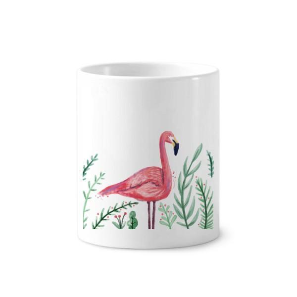 Тропический фламинго Животные растения зубная щетка Ручка держатель кружка белая керамическая чашка 12 унций