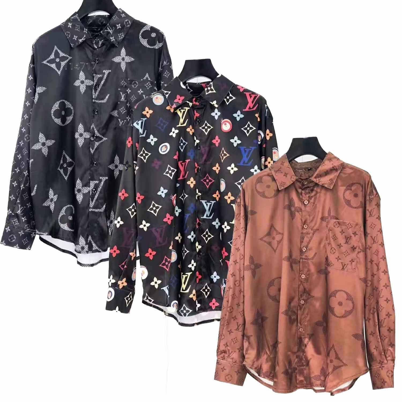 2020ss Slim Fit Camisa para hombre de la medusa ß = 2,019 3D vestido floral de oro para hombre de la camisa de manga larga de negocios ocasional de la camisa Ropa para Hombres