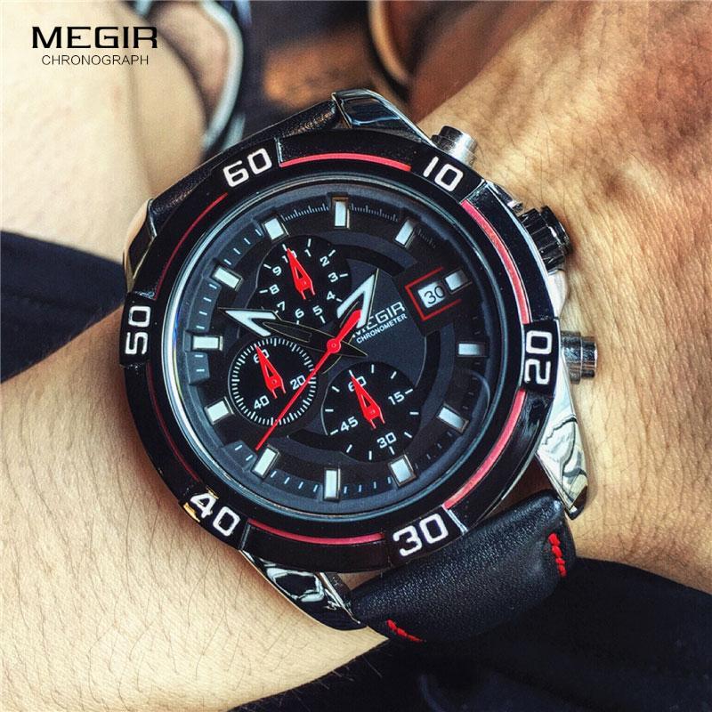 MEGIR Marca reloj de los hombres de negocios correa de cuero del cronógrafo de cuarzo relojes del reloj de los hombres Relogio Masculino 2023