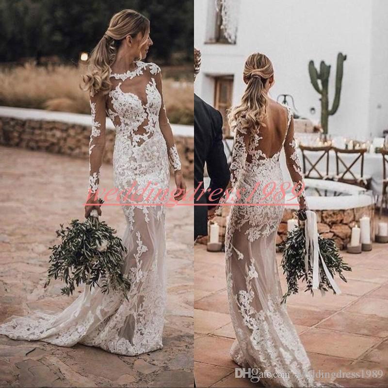 Romântico Sem Encosto Renda Com Decote Em V Sereia Vestidos de Noiva Praia 2019 Manga comprida Ilusão Arábia Saudita Vestido de Noiva Trem Vestido de Noiva Personalizado