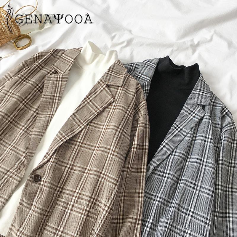 2019 mode plaid femmes blazer manteau bouton rétro treillis costume veste plaquettes veste blazer femme manteaux occasionnels