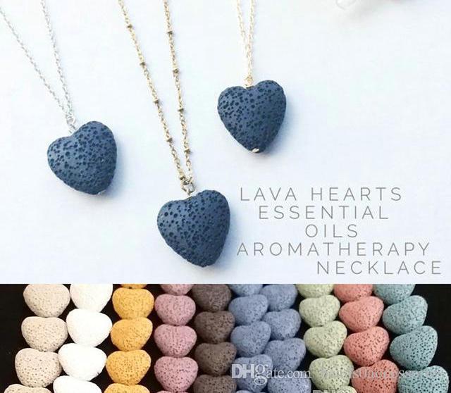 Coração Lava Rock Stone Beads Pingente Longo Vulcão Declaração Colares Aromaterapia Difusor de Óleo Essencial Colares Gargantilha Mulheres Homens Jóias