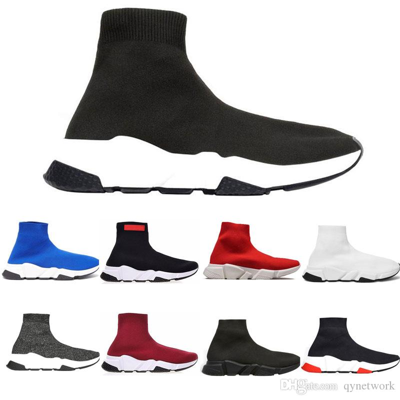 Cheap Designer Speed Trainer casual Shoes black white red glitter Flat mens womens Fashion Socks Sneakers fashion Trainers runner 36-45