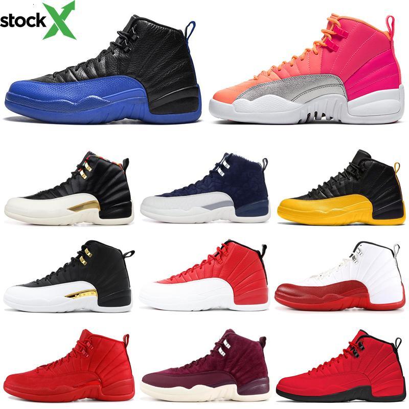 Scarpe Uomo di pallacanestro 12 12s Hot Punch palla Fiba Gioco Reale Rettile Taxi Playoff Mens Sneakers allenatori sportivi 7-13