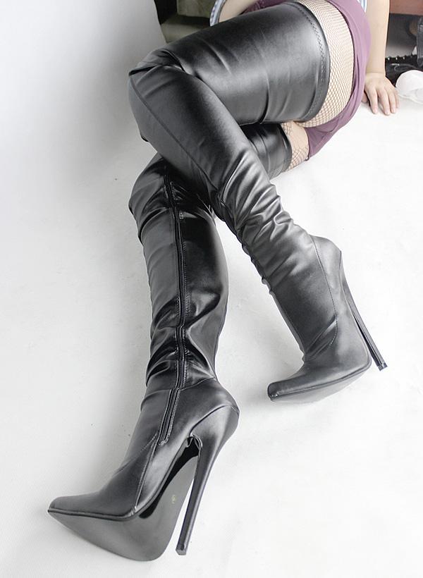 Wonderheel مثير صنم أشار تو الخنجر 18 سنتيمتر خنجر كعب المتطرفة عالية الكعب حجم كبير على الركبة الفخذ أحذية عالية BDSM المنشعب BOOT