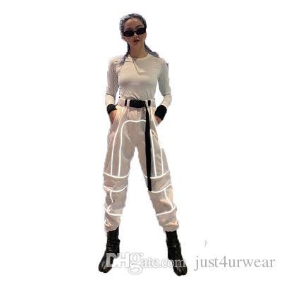Mulheres casuais cargas soltas calças verão rua hip hop moda reflexivo roupas femininas