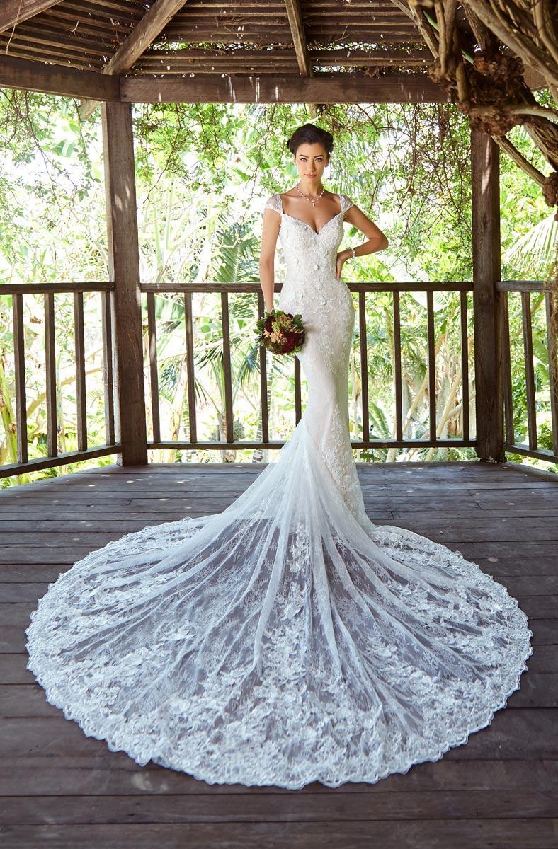 Vestido de novia Vestidos de Novia vestido de encaje en 3D Scoop escote manga casquillo de la sirena de la boda vestidos de novia novia formal del vestido Vestidos de novia