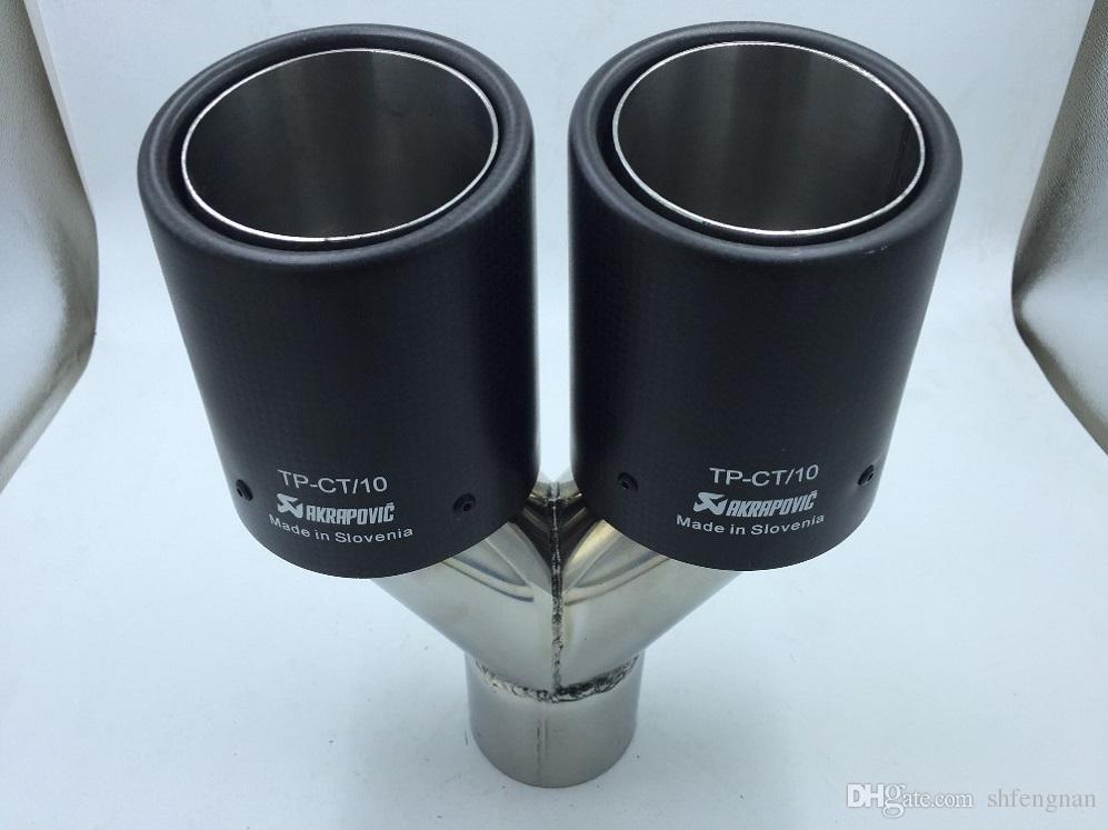 ak AKRAPOVIC susturucu için evrensel markaları araba için inlet63mm-outlet76mm karbon fiber 304 Paslanmaz Çelik egzoz ucu egzoz borusu susturucu